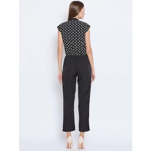 Ruhaans Black & White Printed Basic Jumpsuit