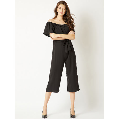 Miss Chase Black Solid Culotte Jumpsuit