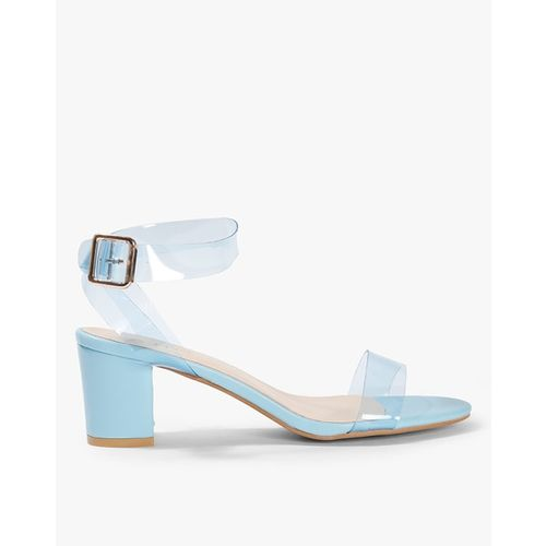 AJIO Chunky Heeled Sandals with Transparent Straps