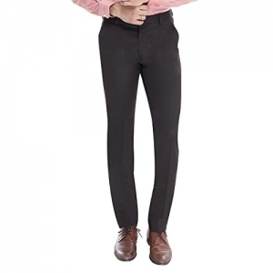 Manq Black Polyester Slim Fit  Formal Trousers