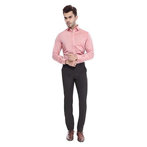 Manq BlackPolyester Slim Fit  Formal Trousers