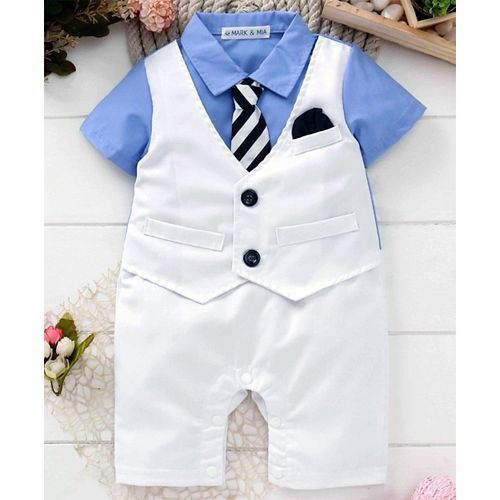 Mark & Mia Half Sleeves Party Wear Romper With Tie - White