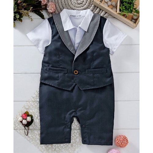 Mark & Mia Half Sleeves Mock Party Suit Romper With Tie - Navy Blue