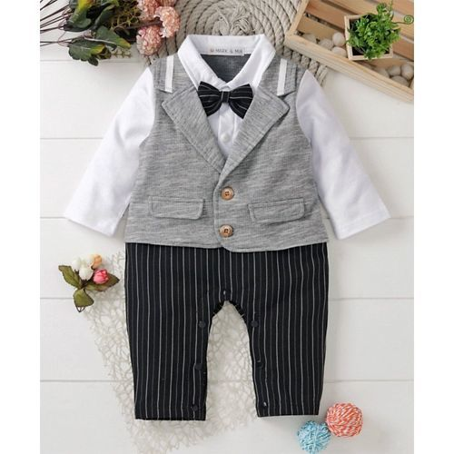 Mark & Mia Full Sleeves Striped Romper With Bow - White & Gray