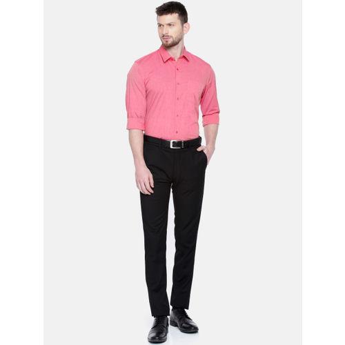 Peter England Men Coral Pink Slim Fit Solid Formal Shirt