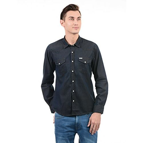 Pepe Jeans Men's Solid Slim Fit Casual Shirt (PIMW200158_Black_X-Large)