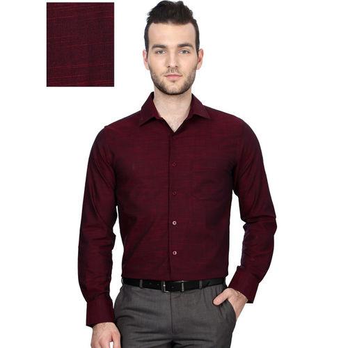 Peter England Men Maroon Slim Fit Solid Formal Shirt