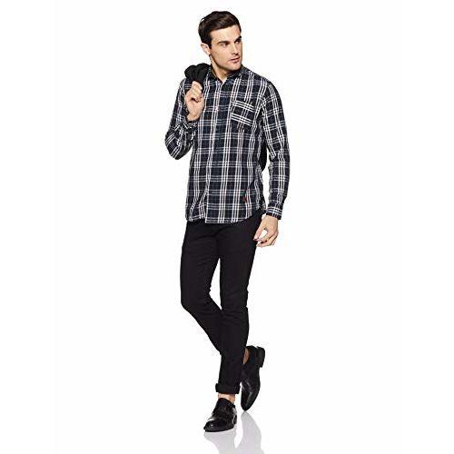 Campus Sutra Men's Checkered Regular Fit Casual Shirt (AZZ18SHRT_PNCHK9_M_PLN_BLWH_AZ_L)
