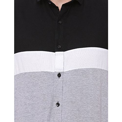 Campus Sutra Men's Polo Neck Casual Shirt (AZ117SHRT_PNFBLK_M_PLN_BLGRWH_AZ_S)