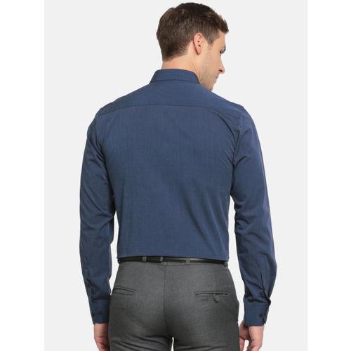 Peter England Men Blue Slim Fit Solid Formal Shirt