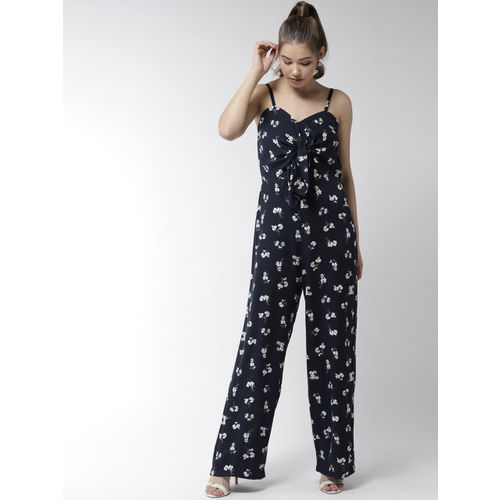 20Dresses Navy Blue & White Printed Basic Jumpsuit