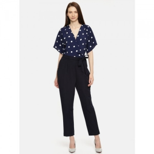 her by invictus Navy Blue Printed Basic Jumpsuit