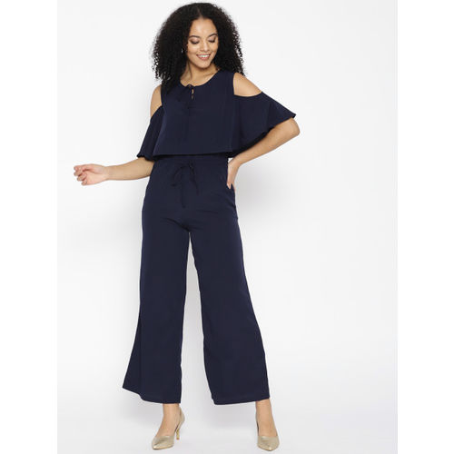 Cottinfab Navy Blue Layered Cold-Shoulder Jumpsuit