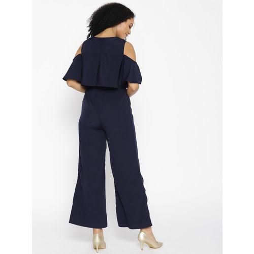 Cottinfab Navy Blue Layered Cold-Shoulder Jumpsuit