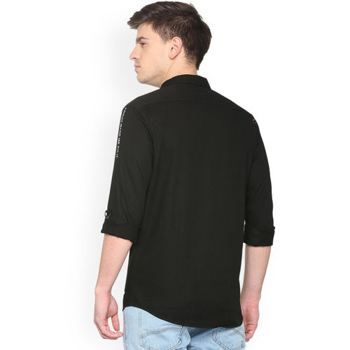 People Men's Solid Regular fit Casual Shirt (P1C216518CPP100_Black_40)