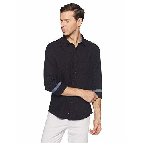 People Black Plain Slim Fit Casual Shirt