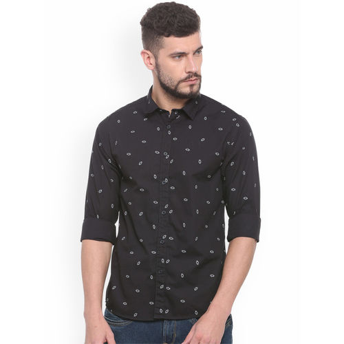 People Black Regular Fit Printed Casual Shirt