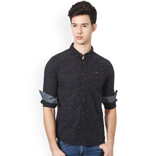 People Men Black Slim Fit Solid Casual Shirt