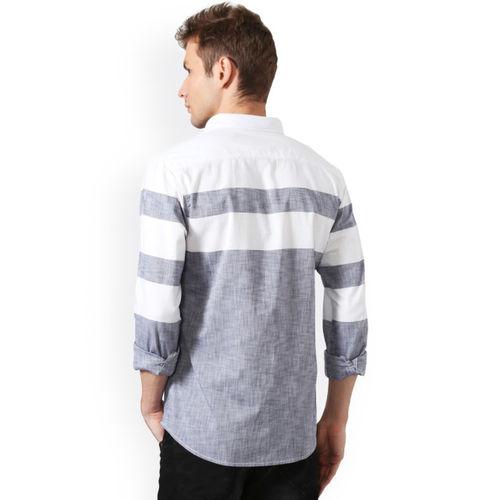 People Men Grey Slim Fit Striped Casual Shirt
