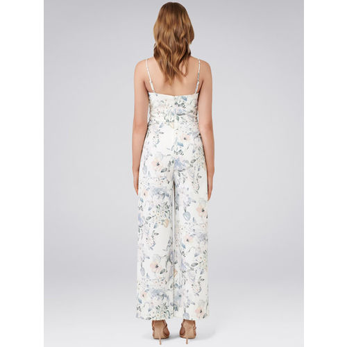 Forever New White & Grey Printed Basic Jumpsuit