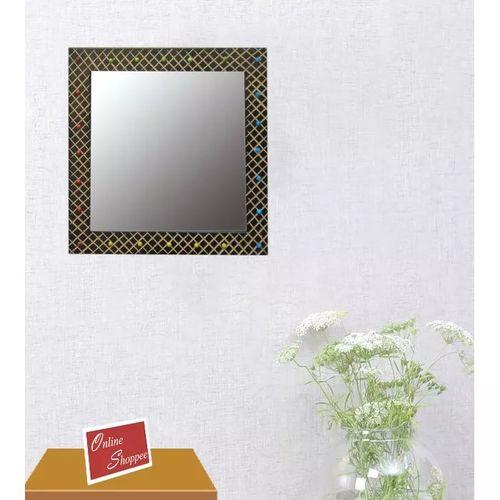 Onlineshoppee MDF Decorative Wall Mirrorr Square Shape Size(LxBxH-14x0.5x14) Inch