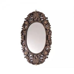 Onlineshoppee Wooden Antique With Handicraft Work Fancy Design Mirror Frame