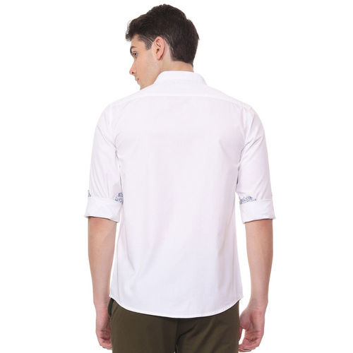 People Men White Regular Fit Solid Casual Shirt