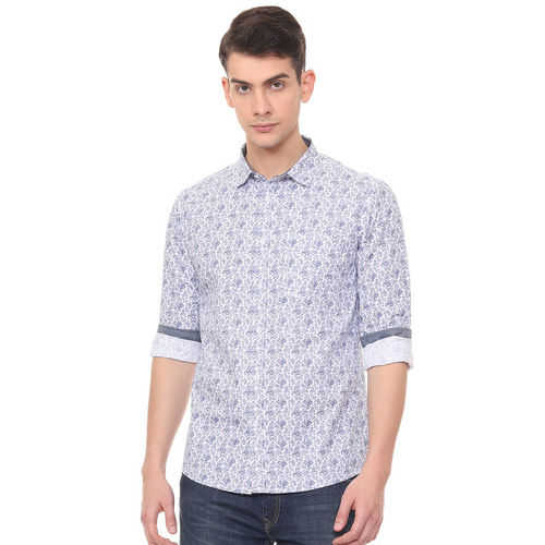 People Men White & Blue Slim Fit Printed Casual Shirt