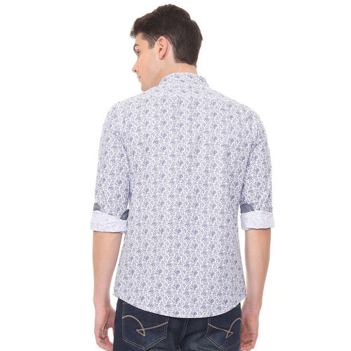 People Men White & Blue Slim Fit Printed Casual Shirt
