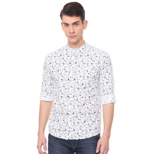 People Men White Slim Fit Printed Casual Shirt