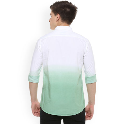 People White & Green Regular Fit Solid Casual Shirt