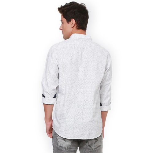 People Men White Regular Fit Checked Casual Shirt