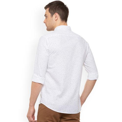 People Men White Regular Fit Printed Casual Shirt