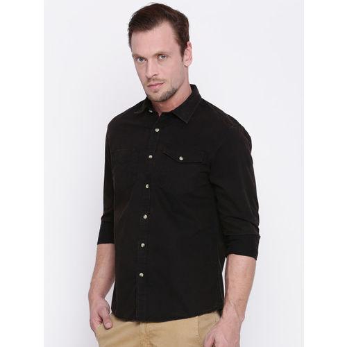 People Men Black Slim Fit Faded Casual Shirt