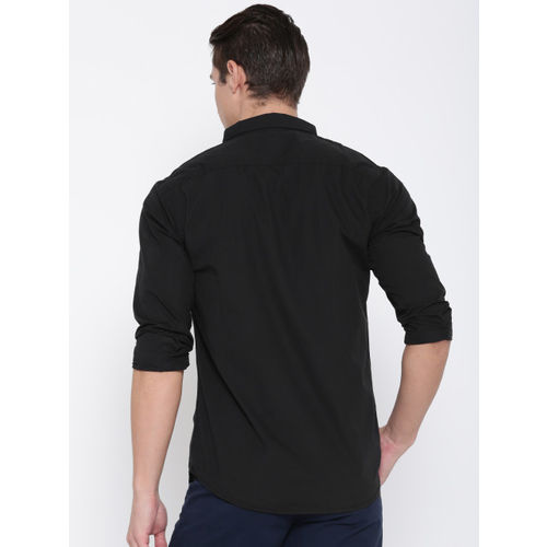 People Black Slim Fit Solid Casual Shirt