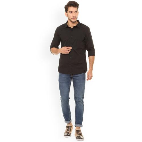 People Men Black Regular Fit Solid Casual Shirt