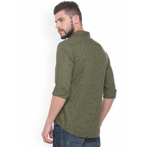 People Men Green Regular Fit Printed Casual Shirt