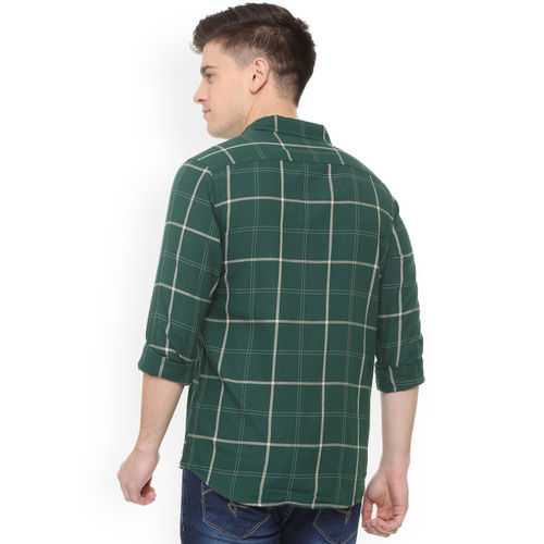 People Men Green Regular Fit Checked Casual Shirt