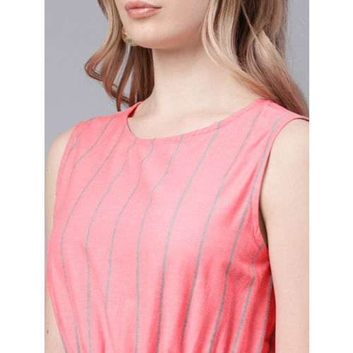 NUSH Pink & Green Striped Basic Jumpsuit