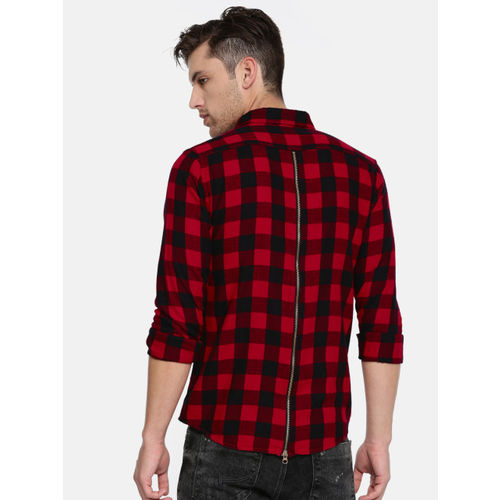 People Men Red & Black Slim Fit Checked Casual Shirt