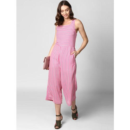 StyleStone Pink & White Striped Basic Jumpsuit