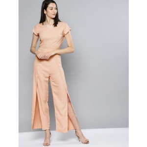 NUSH Pink Solid Basic Jumpsuit