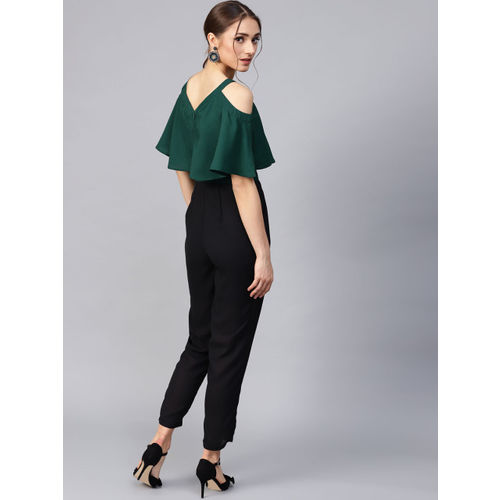 STREET 9 Green & Black Colourblocked Cold Shoulder Basic Jumpsuit