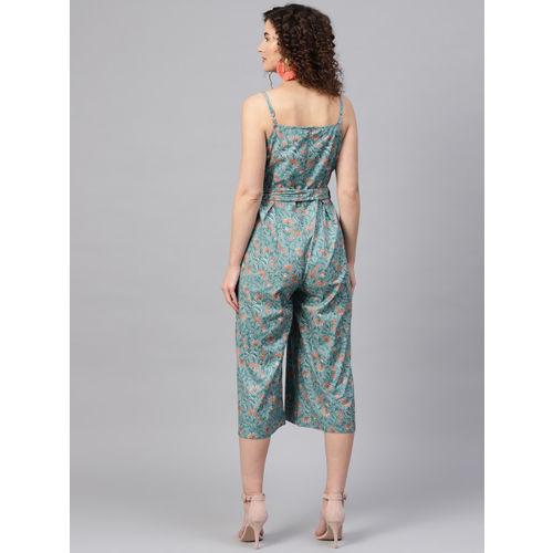 SASSAFRAS Blue & Orange Printed Culotte Jumpsuit