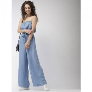 FOREVER 21 Blue Solid Chambray Tube Basic Jumpsuit