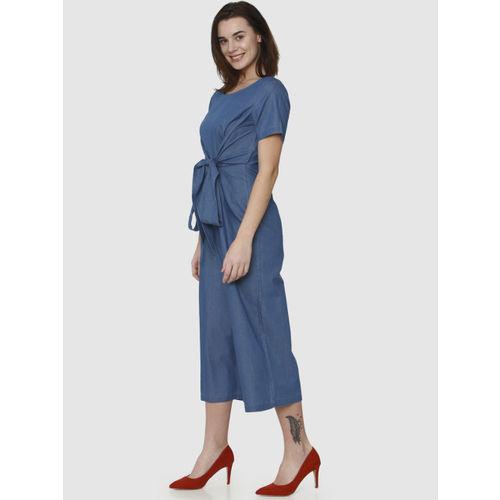 Vero Moda Blue Solid Culotte Jumpsuit