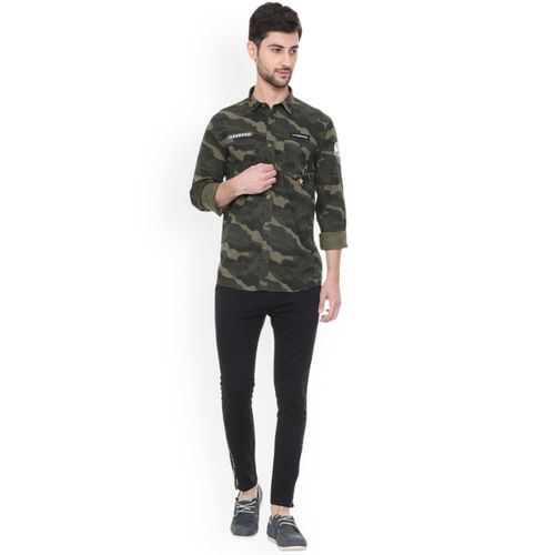 People Green Slim Fit Camouflage Printed Casual Shirt
