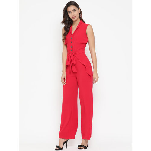 Kazo Red Solid Basic Jumpsuit