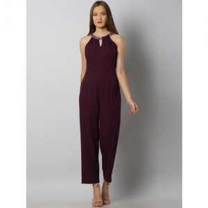 FabAlley Maroon Solid Basic Jumpsuit