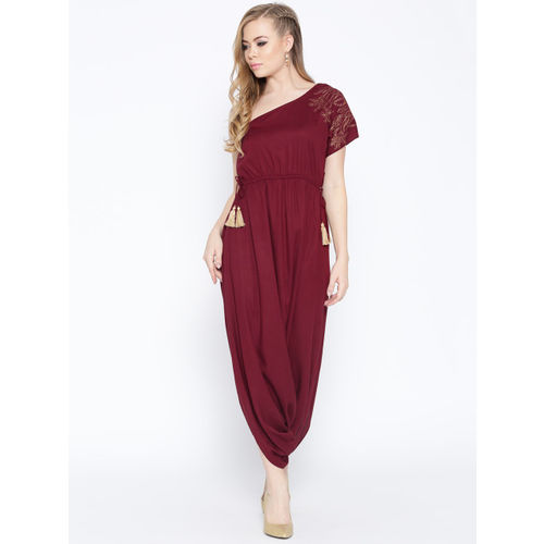 MABISH by Sonal Jain Maroon Solid One-Shoulder Dhoti Style Jumpsuit
